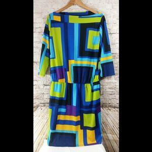 Plus size 16 color block dress vibrant color Nwot